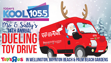 woll kool 105 5 west palm beach 39 s mo sally duel over toy drives. Black Bedroom Furniture Sets. Home Design Ideas
